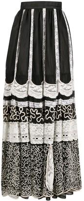 A.N.G.E.L.O. Vintage Cult 1970s Panelled Draped Maxi Skirt