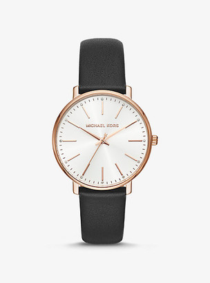Michael Kors Pyper Rose Gold-Tone and Leather Watch