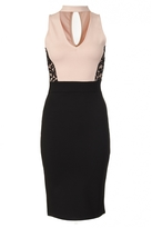 Quiz Nude And Black Lace Panel Choker Midi Dress