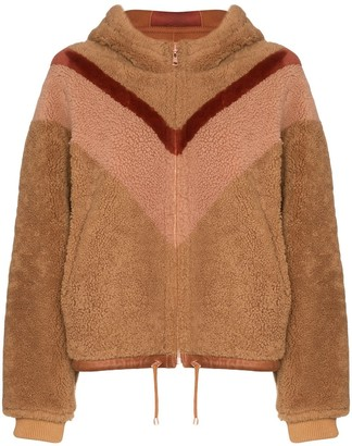 See by Chloe Reversible Chevron-Stripe Shearling Jacket
