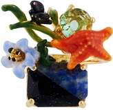 Les Nereides Dazzling Discretion Starfish on Two-Coloured Stone Adjustable Ring - Blue - Adjustable