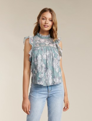 Forever New London Embroidered Frill Blouse - Sheer Ivory Floral - 12