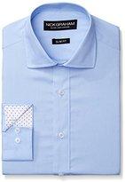 Nick Graham Men's Solid White Cotton Poplin Dress Shirt- Slim Fit- Spread Collar