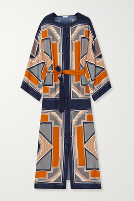 Rosetta Getty Belted Printed Crepe De Chine Maxi Dress - Navy