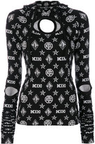 Kokon To Zai logo embroidered hooded top - women - Spandex/Elastane/Rayon - XS