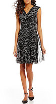 London Times Dot-Print Surplice Neck Fit-and-Flare Dress