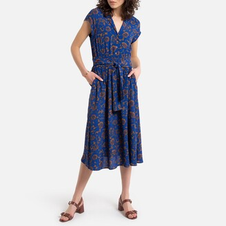 See U Soon Printed Midi Dress with Tailored-Collar and Short Sleeves
