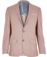 River Island MensRed linen-blend smart blazer