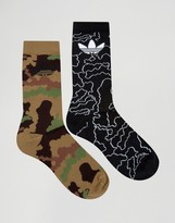 Adidas Originals 2 Pack Socks In Camo Az0168