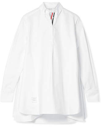 Thom Browne Oversized Grosgrain-trimmed Cotton Oxford Tunic - White