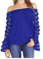 Tenworld Women Loose T-shirt Tops Long Sleeve Off Shoulder Shirt Blouse (S, )