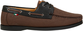 Yours Clothing D555 Brown Lace Up Boat Shoe With Black Trim