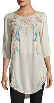 Johnny Was Spring Dolman Georgette Blouse W/ Embroidery, Plus Size