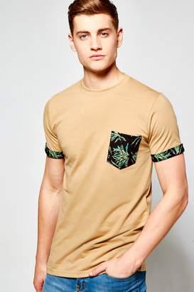 boohoo Pocket T Shirt With Leaf Print