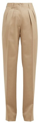 Giuliva Heritage Collection The Adele Straight-leg Wool Trousers - Womens - Beige