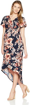 Three Seasons Maternity Women's Maternity Short Sleeve Hi Lo Surplice Printed Dress