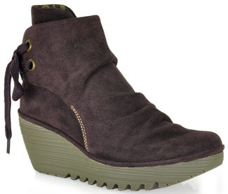 Fly London Yama - Suede Wedge Booties in Purple