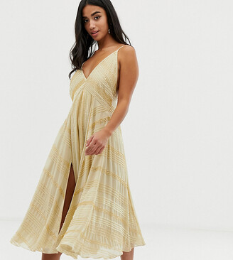 ASOS DESIGN Petite midi swing dress in linear beading