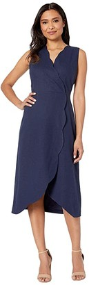 Maggy London Solid Linen Cotton Fit and Flare with Scallop Detail (Navy) Women's Dress