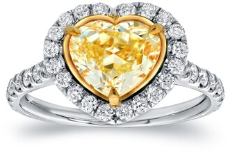 Auriya 18k Two-tone Gold 3ctw Heart Shape Yellow Diamond Engagement Ring Certified