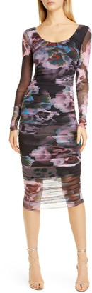 Fuzzi Floral Print Long Sleeve Mesh Dress