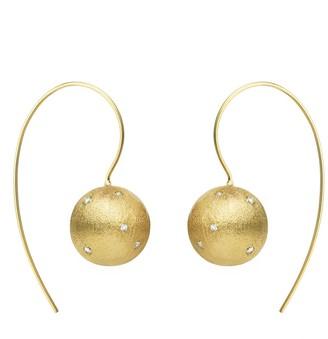 Eshvi Handcrafted Stone Galaxy Yellow Gold Single Ball Drop Earrings