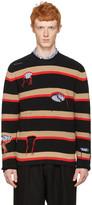 MSGM Black Destroyed Stripes Sweater
