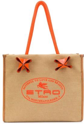 Etro Logo Print Textured Tote Bag