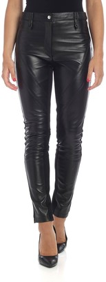 Alberta Ferretti Black Leather Trousers