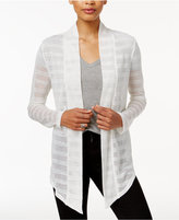 Bar III Asymmetrical Mesh-Contrast Cardigan, Only at Macy's