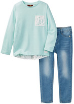 7 For All Mankind Lace Top & Jean Set (Toddler Girls)