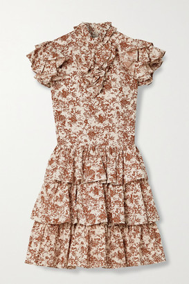 Caroline Constas Kyra Tiered Ruffled Floral-print Cotton-poplin Mini Dress - Beige