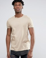 Asos Super Longline T-shirt With Scoop Neck And Stripe Hem Extender