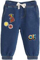 bonniemob Lightweight Terry Denim Pants w/ Patches, Size 3-24 Months