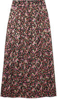 Vanessa Seward Farida Pleated Floral-print Silk-blend Muslin Midi Skirt - Merlot