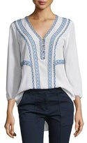 Veronica Beard Loreto Embroidered Silk Blouse, Cream