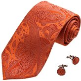 YABB0015 Orange Paisley Bridegrooms Woven Jacquard Silk Tie Gift Idea For Brand Tie Cufflinks Set By Y&G
