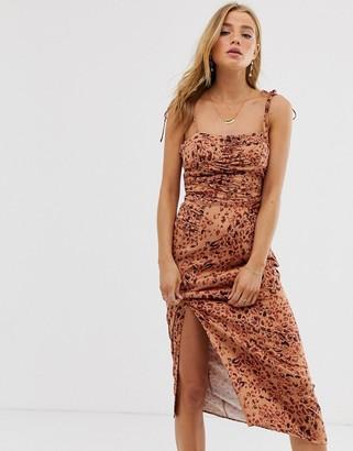 Free People Show Stopper mini bodycon dress in leopard-Brown