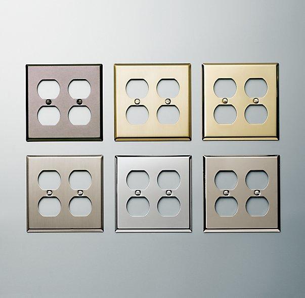 Restoration Hardware Metal Double Socket Plate