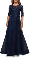 Thumbnail for your product : La Femme Beaded Floral Applique Tulle A-Line Gown