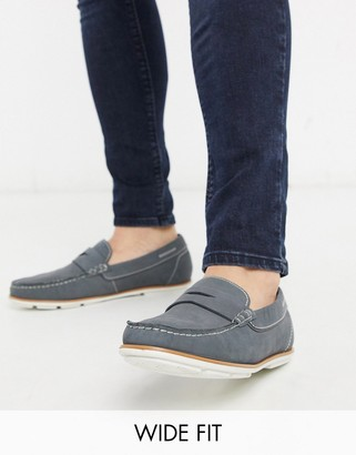 Dune wide fit suede loafer in grey