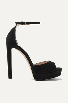 Jimmy Choo Pattie 130 Suede Platform Sandals - Black