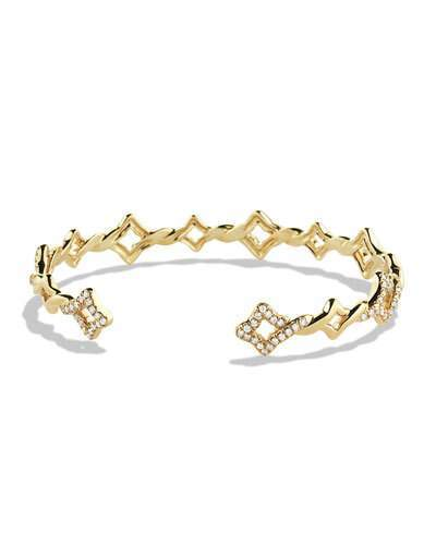 David Yurman Venetian Quatrefoil Single-Row Cuff Bracelet with Diamonds in Gold