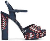 Tory Burch Solana leather-trimmed jacquard platform sandals