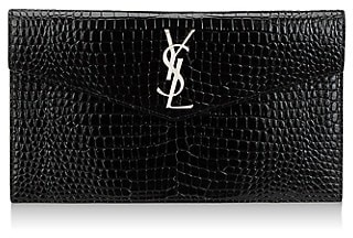 Saint Laurent Uptown Croc-Embossed Leather Clutch