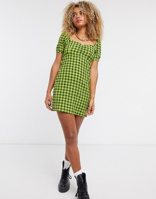 Noisy May skater dress with puff sleeves in green check