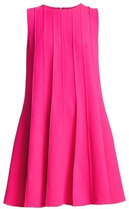 Oscar de la Renta Sleeveless Pleated Shift Dress