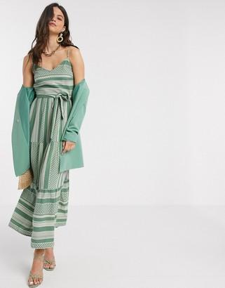 Vero Moda tiered maxi dress in green and cream