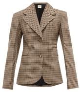 KHAITE Oversized Checked Wool-blend Blazer - Womens - Brown Multi