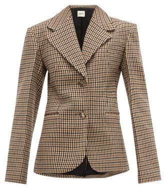 KHAITE Oversized Checked Wool-blend Blazer - Brown Multi